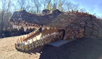 A Mississippi River bonfire in the shape of an alligator ready for lighting. (Special to The Washington Times/courtesy of Stephen Peytavin.)