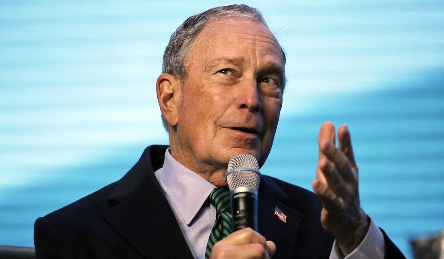In this Dec. 11, 2019 file photo, Democratic presidential candidate and former New York City Mayor Michael Bloomberg gestures while taking part at the American Geophysical Union fall meeting in San Francisco. A top California Democratic Party official is leaving his post to run Bloomberg's presidential operation in the state. Bloomberg's campaign announced Tuesday, Dec. 24, that Chris Masami Myers will lead the billionaire businessman's campaign in California starting next month. (AP Photo/Eric Risberg, File)