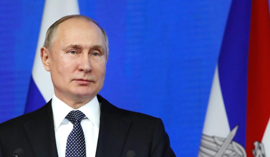 Russian President Vladimir Putin speaks during an annual meeting with top military officials in the National Defense Control Center in Moscow, Russia, Tuesday, Dec. 24, 2019. Putin said that Russia is the only country in the world that has hypersonic weapons even though its military spending is a fraction of the U.S. military budget. (Mikhail Klimentyev, Sputnik, Kremlin Pool Photo via AP)