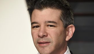 In this Feb. 26, 2017, file photo, Uber CEO Travis Kalanick arrives at the Vanity Fair Oscar Party in Beverly Hills, Calif. Former Uber CEO Kalanick will resign from the company's board next week, effectively severing ties with the company he co-founded a decade ago. (Photo by Evan Agostini/Invision/AP, File) **FILE**