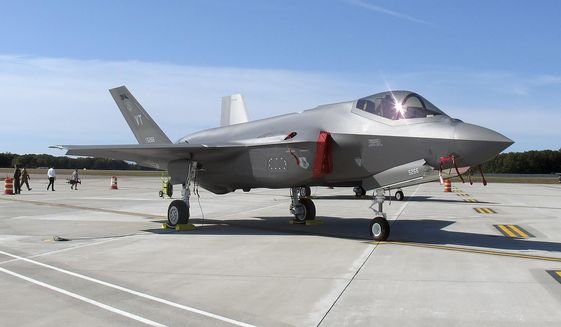 In this Sept. 19, 2019, file photo, an F-35 fighter jet arrives at the Vermont Air National Guard base in South Burlington, Vt. (AP Photo/Wilson Ring, File) ** FILE **