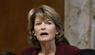 In this Dec. 19, 2019, file photo, Sen. Lisa Murkowski, R-Alaska, chair of the Senate Energy and Natural Resources Committee, speaks during a hearing on the impact of wildfires on electric grid reliability on Capitol Hill in Washington. (AP Photo/Patrick Semansky, File)