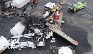 FILE - In this Oct. 3, 2019, file image taken from video released by National Transportation Safety Board, the wreckage of a World War II-era B-17 bomber plane that crashed Wednesday remains on the tarmac at Bradley International Airport in Windsor Locks, Conn. The plane crashed and burned after experiencing mechanical trouble on takeoff. (NTSB via AP, FILE)
