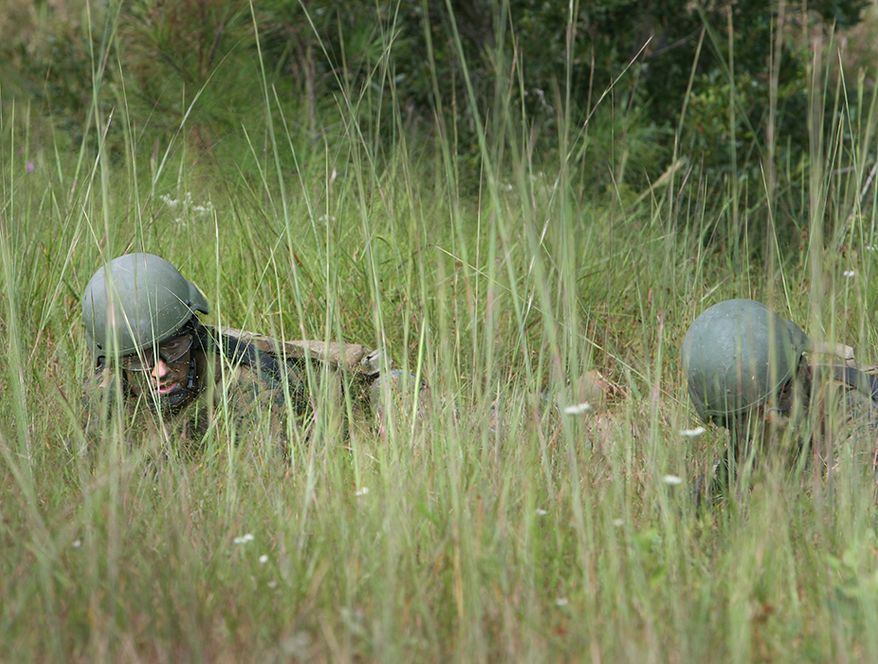 Two Marines with Individual Training Course, Marine Special Operations School, Marine Corps Forces, Special Operations Command, low crawl through tall grass during a fire and maneuver exercise Sept. 24, 2010 aboard Camp Lejeune, NC. The exercise was the culminating event of a weapons and tactics package the course conducted that week.  (Official U.S. Marine Corps photo by Lance Cpl. Thomas W. Provost/Released)