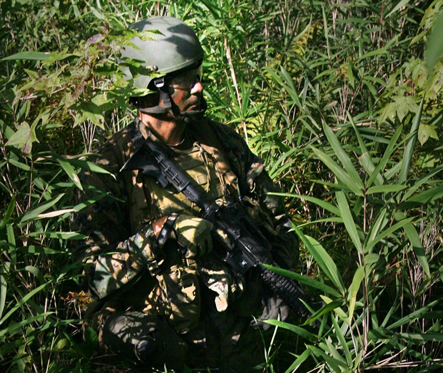 A Marine with Individual Training Course, Marine Special Operations School, Marine Corps Forces, Special Operations Command, patrols through a forest during a fire and maneuver exercise Sept. 24, 2010 aboard Camp Lejeune, NC. The exercise was the culminating event of a weapons and tactics package the course conducted that week.  (Official U.S. Marine Corps photo by Lance Cpl. Thomas W. Provost/Released)