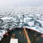 This summer 2018 file photo provided by the National Oceanic and Atmospheric Administration shows the U.S. Coast Guard Icebreaker Healy on a research cruise in the Chukchi Sea of the Arctic Ocean. (Devin Powell/NOAA via AP, File)