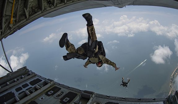Sailors assigned to Naval Special Warfare Group TWO conduct military air operations in the United States. U.S. Navy SEALs engage in a continuous training cycle to improve and further specialize skills needed to conduct missions from sea, air and land. (U.S. Navy photo by Mass Communication Specialist 2nd Class Russell Rhodes Jr./Released) 190605-N-UJ417-1036
