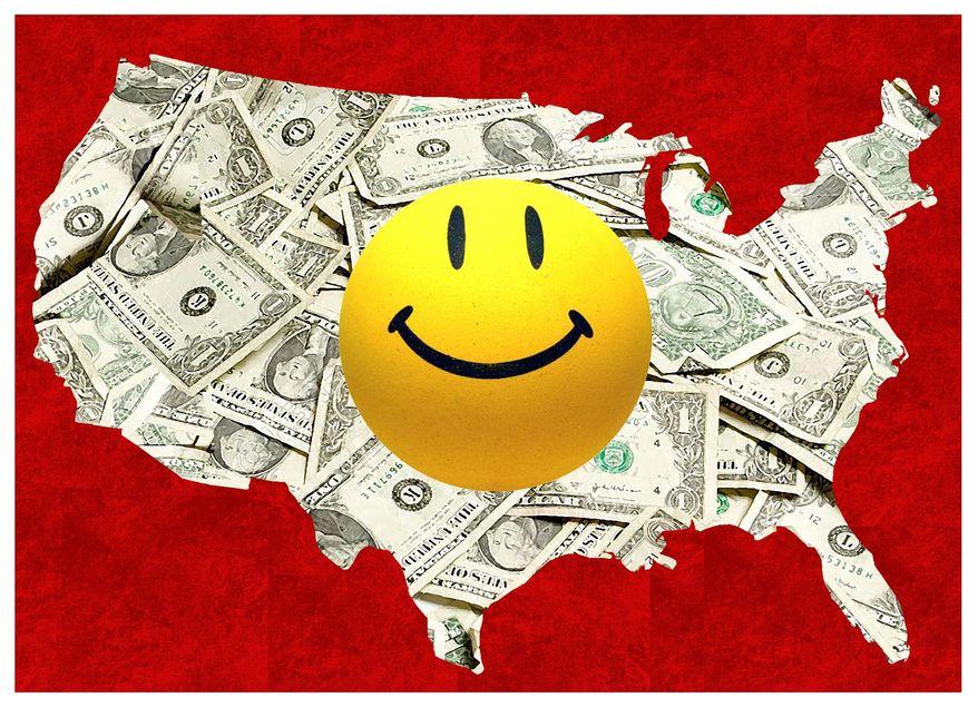 Illustration on U.S. prosperity by Alexander Hunter/The Washington Times