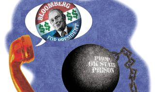 Illustration on prisoners calling for the Bloomberg campaign by Alexander Hunter/The Washington Times