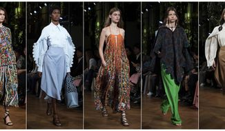 This combination of photos show models wearing creations from the Stella McCartney Ready To Wear Spring-Summer 2020 collection during Paris Fashion Week on Sept. 30, 2019. For more than a decade McCartney has been in the sustainability fight. Her latest collection was her most sustainable yet, using organic cotton, recycled polyester, sustainable viscose and traceable wool. (Photos by Vianney Le Caer/Invision/AP)