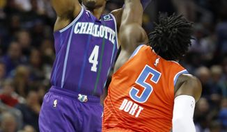 Charlotte Hornets' Devonte' Graham (4) aims his jumper as Oklahoma City Thunder's Luguentz Dort (5) defends during the first half of an NBA basketball game in Charlotte, N.C., Friday Dec. 27, 2019. (AP Photo/Bob Leverone)