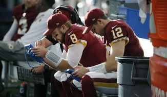 Washington Redskins quarterback Case Keenum (8) and quarterback Colt McCoy (12) on the bench during the first half of an NFL football game against the Dallas Cowboys in Arlington, Texas, Sunday, Dec. 15, 2019. (AP Photo/Michael Ainsworth)