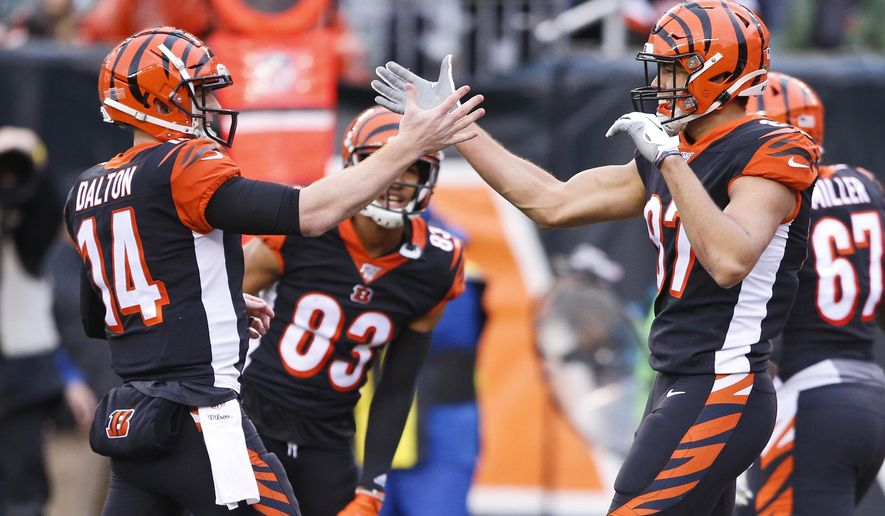 Cincinnati Bengals tight end C.J. Uzomah, right, and quarterback Andy Dalton (14) celebrate after a 15-yard touchdown by Uzomah during the first half of an NFL football game against the Cleveland Browns, Sunday, Dec. 29, 2019, in Cincinnati. (AP Photo/Gary Landers)