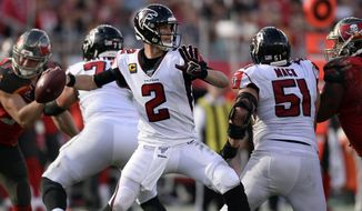 Atlanta Falcons quarterback Matt Ryan (2) throws a passagainst the Tampa Bay Buccaneers during the second half of an NFL football game Sunday, Dec. 29, 2019, in Tampa, Fla. (AP Photo/Jason Behnken)