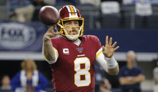 Washington Redskins quarterback Case Keenum (8) throws against the Dallas Cowboys during the first half of an NFL football game in Arlington, Texas, Sunday, Dec. 15, 2019. (AP Photo/Michael Ainsworth) ** FILE **