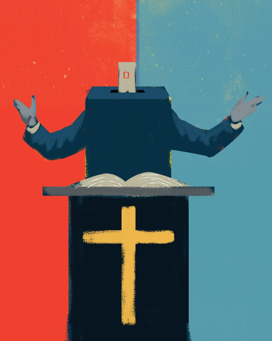 Illustration on anti-Trump evangelicals by Linas Garsys/The Washington Times