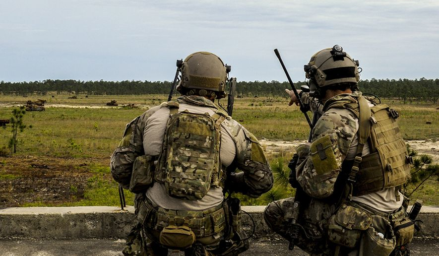 A U.S. Air Force Tactical Air Control Party member (right) points at a target in the field to a U.S. Air Force Combat Controller while participating in close air support training during Emerald Warrior 2014 on Hurlburt Field, Fla., May 1, 2014. Emerald Warrior is an annual, joint exercise to train special operations, conventional and partner nation forces in combat scenarios designed to hone special operations air and ground combat skills, and is the Department of Defense's only irregular warfare exercise. (U.S. Air Force photo by Senior Airman Colville McFee / Released)