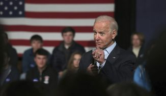 Democratic presidential candidate former Vice President Joe Biden addresses a gathering during a campaign stop in Exeter, N.H., Monday, Dec. 30, 2019. (AP Photo/Charles Krupa) ** FILE **