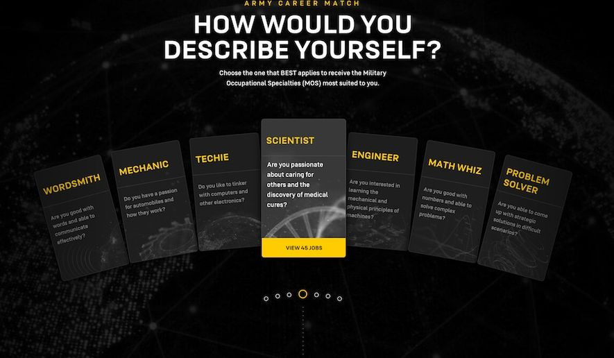 """The U.S. Army's """"What's Your Warrior?"""" campaign spotlights numerous non-combat career fields for potential recruits. (Image: U.S. Army, goarmy.com promotional screenshot)"""