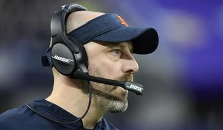 Chicago Bears head coach Matt Nagy watches from the sideline during the first half of an NFL football game against the Minnesota Vikings, Sunday, Dec. 29, 2019, in Minneapolis. (AP Photo/Craig Lassig)
