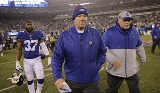 Ths Dec. 29, 2019, file photo shows New York Giants head coach Pat Shurmur leaving the field after an NFL football game against the Philadelphia Eagles, Sunday in East Rutherford, N.J. The Giants fired Shurmur on Monday, Dec. 30, 2019, just two years into a five-year contract, the Daily News has confirmed. (AP Photo/Seth Wenig, File) **FILE**