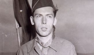 T/Sgt Currey, Francis S., Co. K 120th Infant Regt, 30th Infantry Div. of Hurleysville, N.Y., wears the Medal of Honor presented to him at Camp Oklahoma City redeployment center near Reims, France, by Maj. Gen. Leland S. Hobbs, CG, 30th infantry division for halting a German attack on his company during the Battle of the Bulge. (U.S. Army via Wikimedia Commons)