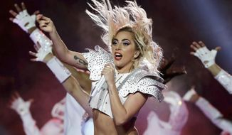 FILE - In this Feb. 5, 2017 file photo, Lady Gaga performs during the halftime show of the NFL Super Bowl 51 football game between the Atlanta Falcons and the New England Patriots in Houston. Lady Gaga will perform at AT&T TV Super Saturday Night in Miami on Feb. 1, held a day before Super Bowl 54. (AP Photo/Matt Slocum, File)
