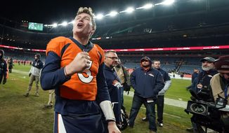 Denver Broncos quarterback Drew Lock reacts after an NFL football game against the Oakland Raiders, Sunday, Dec. 29, 2019, in Denver. (AP Photo/Jack Dempsey)
