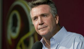 FILE - In this Dec. 31, 2014 file photo, Washington Redskins team President and General Manager Bruce Allen speaks to reporters during an NFL football news conference at the Redskins Park in Ashburn, Va. Allen was fired Monday, Dec. 30, 2019, after a tumultuous and loss-filled decade with the NFL team once coached by his father.  (AP Photo/Manuel Balce Ceneta, File)