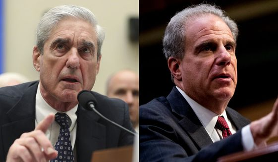 Former special counsel Robert Mueller testifies before the House Intelligence Committee and Department of Justice Inspector General Michael Horowitz testifies at a Senate Judiciary Committee. (AP Photo/Andrew Harnik) ** FILE **