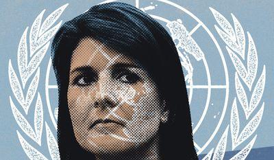 Illustration on Nikki Haley by Linas Garsys/The Washington Times