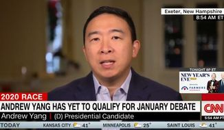 Presidential hopeful Andrew Yang discusses his campaign during a CNN interview, Dec. 31, 2019. (Image: CNN video screenshot)
