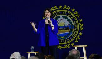 Democratic presidential candidate Sen. Amy Klobuchar, D-Minn., speaks during a town hall at Keene High School, in Keene, N.H., on Tuesday, Dec. 31, 2019. (Kristopher Radder/The Brattleboro Reformer via AP)