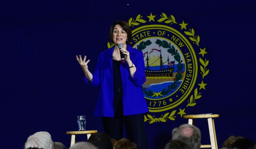 Democratic presidential candidate Sen. Amy Klobuchar, D-Minn., speaks during a town hall at Keene High School, in Keene, N.H., on Tuesday, Dec. 31, 2019. (Kristopher Radder/The Brattleboro Reformer via AP)
