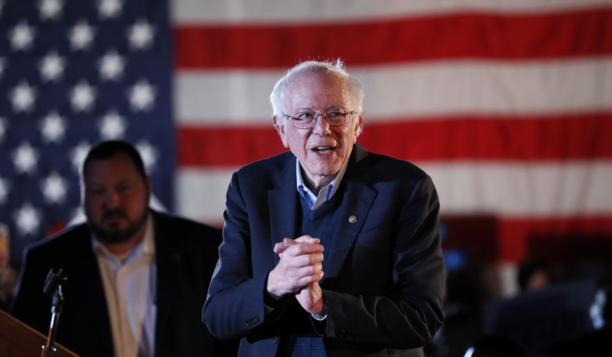 Democratic presidential candidate U.S. Sen. Bernie Sanders, I-Vt., speaks during his Bernie's Big New Year's Bash, Tuesday, Dec. 31, 2019, in Des Moines, Iowa. (AP Photo/Charlie Neibergall)