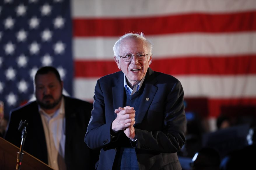 Democratic presidential candidate U.S. Sen. Bernie Sanders, I-Vt., speaks during his Bernie's Big New Year's Bash, Tuesday, Dec. 31, 2019, in Des Moines, Iowa. (AP Photo/Charlie Neibergall)