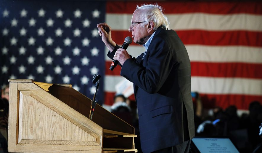 Democratic presidential candidate Sen. Bernie Sanders, I-Vt., speaks during his Bernie's Big New Year's Bash, Tuesday, Dec. 31, 2019, in Des Moines, Iowa. (AP Photo/Charlie Neibergall)