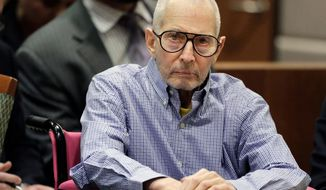 FILE - In this Dec. 21, 2016 file photo, Robert Durst sits in a courtroom in Los Angeles. Lawyers for Durst acknowledge he penned a note tipping off police to the location of the body of a friend he's accused of killing, according to court documents. In a court filing Christmas Eve, Wednesday, Dec. 25, 2019 in Los Angeles Superior Court, lawyers for Durst conceded that he had written the note directing police to the home of Susan Berman in December 2000. Durst pleaded not guilty to murder in the death of Berman, his best friend, but told a documentary film crew that the letter could only have been sent by the killer. (AP Photo/Jae C. Hong, Pool, File)