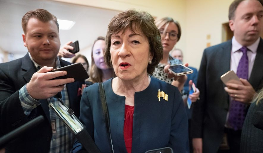 Maine Sen. Susan Collins is among four GOP incumbents targeted in Democrats' plan to flip control of the Senate in 2020. (Associated PRess)