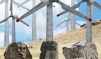 Additional Antiquities Wind farms Illustration by Greg Groesch/The Washington Times