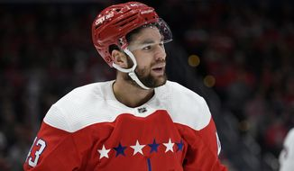 Washington Capitals right wing Tom Wilson (43) stands on the ice during the second period of an NHL hockey game against the New York Islanders, Tuesday, Dec. 31, 2019, in Washington. (AP Photo/Nick Wass) ** FILE **