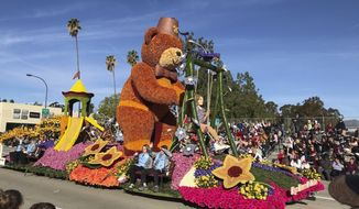 """The Shriners Hospitals for Children float rides the 131st Rose Parade route in Pasadena, Calif., Wednesday, Jan. 1, 2020. The theme of this year's parade is """"The Power of Hope."""" (AP Photo/Michael Owen Baker)"""