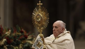 Pope Francis presides over vespers of the Feast of St. Mary and Te Deum of Thanksgiving at year's end, in St. Peter's Basilica at the Vatican, Tuesday, Dec. 31, 2019. (AP Photo/Gregorio Borgia)