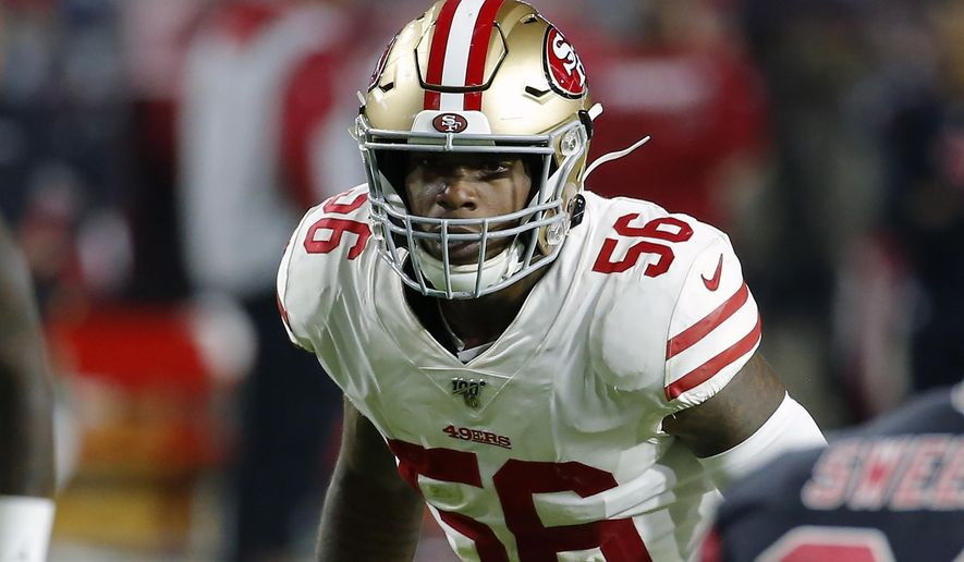 FILE - In this Oct. 31, 2019, file photo, San Francisco 49ers linebacker Kwon Alexander (56) looks on during the first half of an NFL football game against the Arizona Cardinals, in Glendale, Ariz. Alexander has returned to practice for the San Francisco 49ers on Thursday, Jan. 2, 2020, for the first time since tearing his pectoral muscle midway through the season. The Niners opened up the three-week practice window for Alexander to be activated from injured reserve in the playoffs. (AP Photo/Rick Scuteri, File)