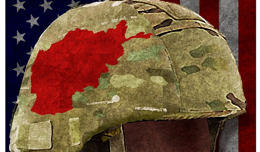 Illustration on the attenuated Afghan war by Alexander Hunter/The Washington Times