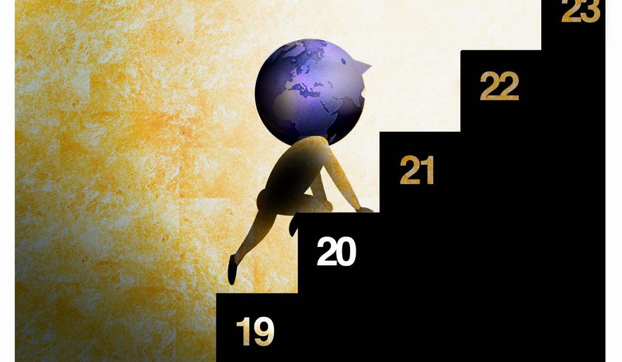 Illustration on improving world conditions over the past ten years by Alexander Hunter/The Washington Times
