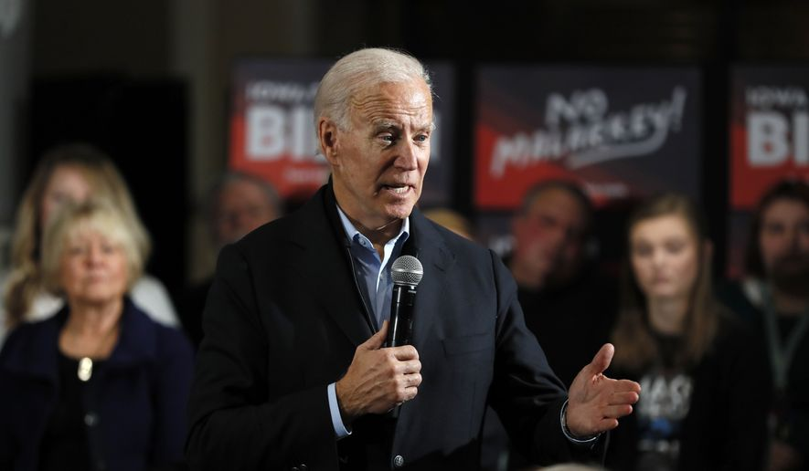 In this Sunday, Dec. 1, 2019, file photo, Democratic presidential candidate and former Vice President Joe Biden speaks during a meeting with local residents at Buena Vista University, in Storm Lake, Iowa. Biden has landed a high-profile endorsement for his presidential bid as U.S. Rep. Abby Finkenauer becomes the first member of the Iowa congressional delegation to take sides in the Democratic nominating contest. (AP Photo/Charlie Neibergall, File)