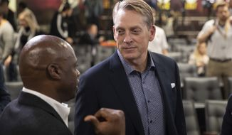 Washington Redskins defensive coordinator Jack Del Rio, right, chats after a news conference with head coach Ron Rivera at the team's NFL football training facility, Thursday, Jan. 2, 2020, in Ashburn, Va. (AP Photo/Alex Brandon)