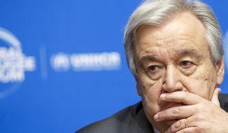 U.N. Secretary-General Antonio Guterres attends the UNHCR - Global Refugee Forum at the European headquarters of the United Nations in Geneva, Switzerland, Tuesday, Dec. 17, 2019. (Salvatore Di Nolfi/Keystone via AP)