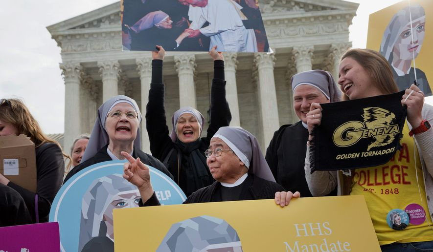 Nuns with the Little Sisters of the Poor had to fight the Obama administration over a law requiring their health care plans to provide coverage for contraceptives. The Supreme Court in 2016 ordered both sides to go back and try to reach an accommodation. (Associated Press)